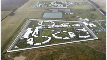 Marngoneet Correctional Centre in the foreground with Barwon Prison behind.