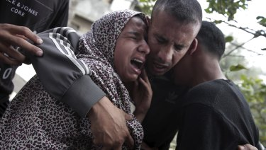 Relatives of 40-year-old Palestinian Jaber Abu Mustafa, shot during protests, attend his funeral in the Gaza Strip.
