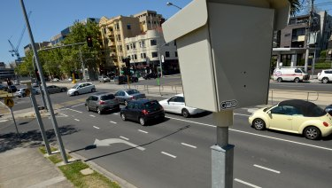 A speed camera at the intersection of Fitzroy Street and Lakeside Drive.
