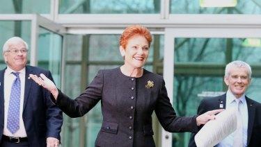 One Nation leader Pauline Hanson in 2017 with senators Brian Burston and Malcolm Roberts.