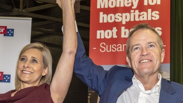 The Labor candidate for Longman, Susan Lamb, and Bill Shorten at a Labor rally at the Narangba Community Centre, Brisbane, on Sunday. The by-election will be held on July 28.