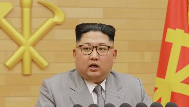 Kim Jong-un delivers his New Year's speech at an undisclosed location.