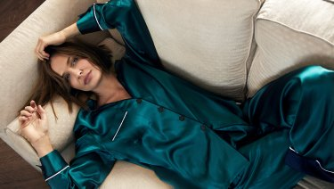 "Lara wears ""Portofino"" long pyjama set by Jasmine and Will."
