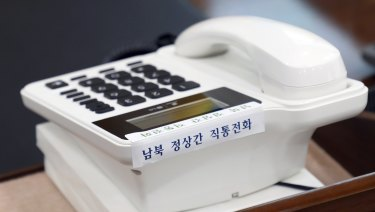A telephone hotline between South Korea and North Korea at the presidential Blue House in Seoul, South Korea.