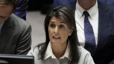 US Ambassador to the United Nations Nikki Haley speaks at United Nations headquarters.
