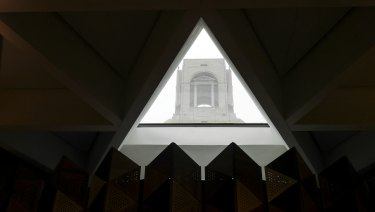 Memorial tower seen from the John Monash Centre foyer at  Villers-Bretonneux.