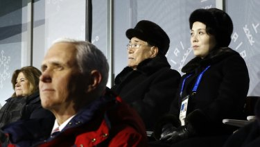 Kim Yo Jong, top right, sister of North Korean leader Kim Jong-un, sits alongside Kim Yong-nam, president of the Presidium of North Korean Parliament, and behind US Vice-President Mike Pence as she watches the opening ceremony.