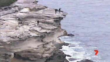 Police examined the cliffs at Kurnell where the man is believed to have fallen.