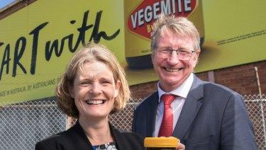 Mondelez's Australian vice president Amanda Banfield and Bega Cheese executive chairman Barry Irvin.