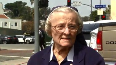 Sister Catherine Rose Holzman collapsed and died shortly after giving an interview to Fox 11 News.
