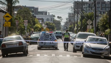 Part of Albert Street in Brunswick cordoned off as police investigate a women's death on Thursday morning.