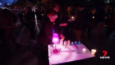 The vigil for Eurydice Dixon at Speakers' Corner in Brisbane.