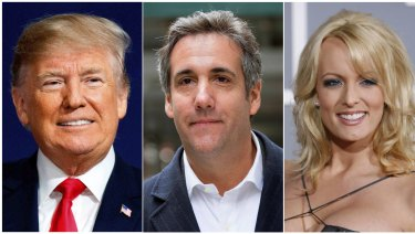 President Donald Trump has changed his story about a payment his attorney Michael Cohen (centre) made to porn star Stormy Daniels (right).