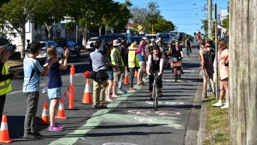 A pop-up lane protest was held at West End on Friday.