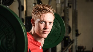 """Melbourne's Clayton Oliver at training this week. """"I'm doing everything I can to get as fit as possible,"""" he says."""