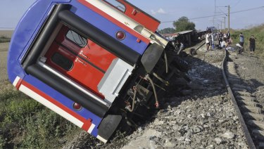 An overturned train car is seen near a village at Tekirdag province in Turkey.