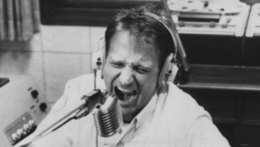 Robin Williams as Adrian Cronauer in a scene from Good Morning Vietnam.