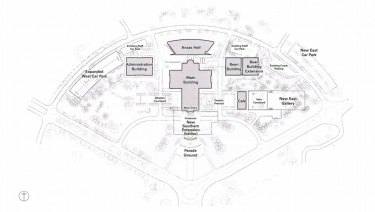 A map of what the War Memorial could like with three potential extensions.