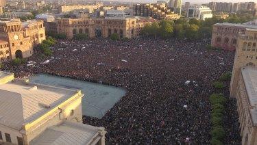 Demonstrators gather in the Republic Square celebrating Armenian Prime Minister's Serzh Sargsyan's resignation in Yerevan on Monday.