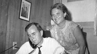 George Bush, then a candidate for the Republican nomination for the US Senate, at his headquarters in Houston wife Barbara in 1964.