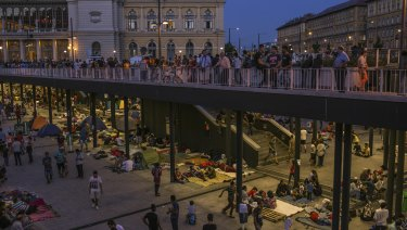 Syrian refugees camped out at Keleti station, Budapest, in 2015.