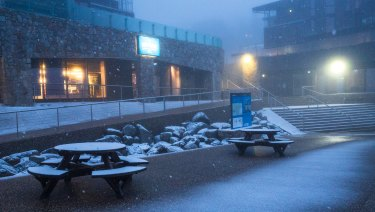 Snow at Falls Creek on Wednesday.