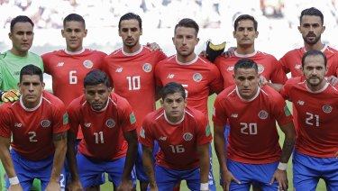 Costa Rica team before the match against Serbia.