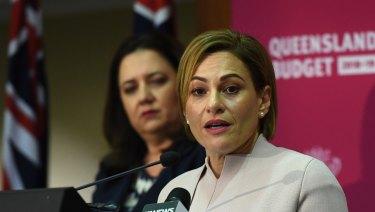 Queensland Premier Annastacia Palaszczuk (left) and Treasurer Jackie Trad prepare to hand down the 2018-19 budget.