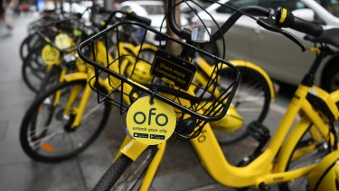 Bikes from the bike-sharing company Ofo in Sydney.
