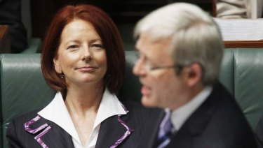 Then deputy prime minister Julia Gillard and prime minister Kevin Rudd during Question Time in  June 2010.