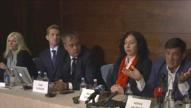Herve Jaubert, right a former  French spy, speaks during a press conference with Radha Stirling, the founder and CEO of Detained in Dubai, second right and others, at the Conrad Hotel in London.