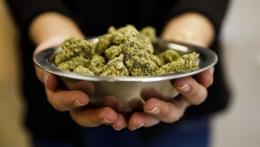 A bowl of marijuana is displayed at the MedMen dispensary in West Hollywood, California.