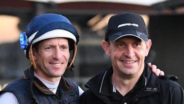 Winx's men: Hugh Bowman and Chris Waller together at track work.