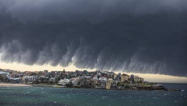 The Bureau of Meteorology's weather radar system is used to detect storms, such as this one at Bondi Beach.