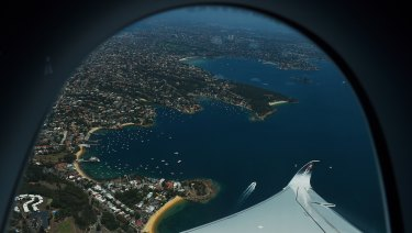 The view of Sydney from the A350's joyride.