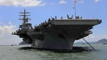 The USS Ronald Reagan aircraft carrier in Hong Kong.