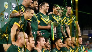 On top of the world: Plans are being hatched for the World Cup-winning Kangaroos to play Tonga in the US this year.