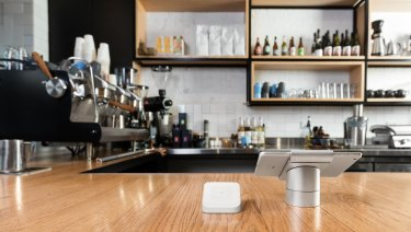 Square POS readers accept payments from customers and communicate wirelessly with apps on tablets or phones.