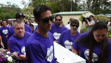 Thorburn, on the left and second from the front, carried Tiahleigh's coffin at her funeral, shortly after he murdered her.