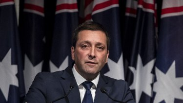 Matthew Guy addresses the Liberal Party's state council in April.