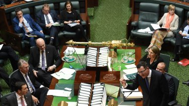 Face off: Opposition Leader Matthew Guy (left) and Premier Daniel Andrews (right)