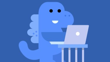 Ah, the Facebook safety dinosaur. She'll keep our data secure.