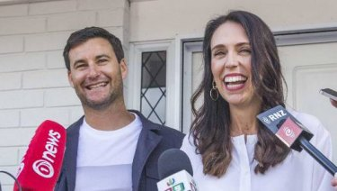 Jacinda Ardern and her partner Clarke Gayford speak to media after announcing her pregnancy.