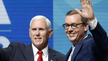 Vice President Mike Pence and Chris Cox, right, executive director of the National Rifle Association-Institute for Legislative Action.