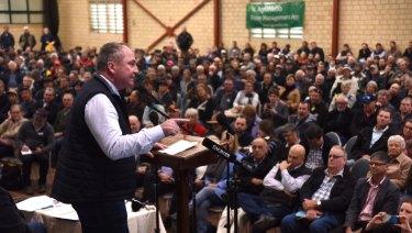 Barnaby Joyce addresses the crowd.