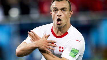 Controversy: Xherdan Shaqiri's post-goal celebration against Serbia.