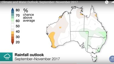 The Bureau of Meteorology says there is a 60 per cent chance of higher rainfall until November 2017.