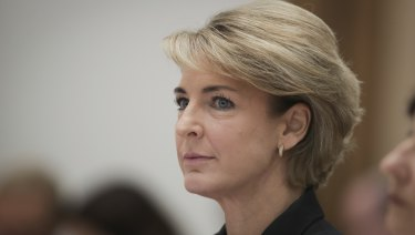 Minister for Jobs and Innovation Michaelia Cash during an estimates hearing at Parliament House in Canberra.
