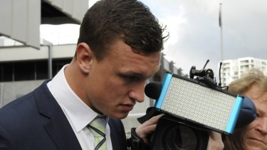Awaiting sentence: Raiders fullback Jack Wighton leaves court in Canberra recently.
