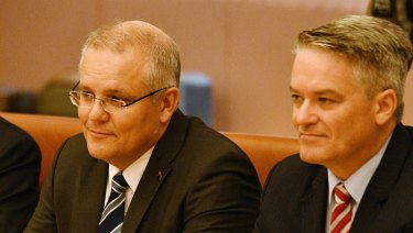 Treasurer Scott Morrison and  Finance Minister Mathias Cormann: about to deliver the budget.